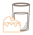 sweet cake portion with milk glass vector image