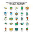 travel and tourism flat line icon set - business vector image