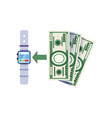 using smartwatch to replenish bank account vector image