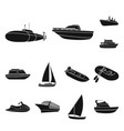 water and sea transport black icons in set vector image