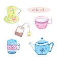 watercolor set of tea isolated vector image vector image
