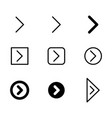 arrow icon set in thin line and filled vector image
