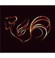 bright fire rooster on a black background vector image