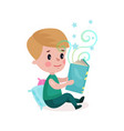 cute little boy sitting on the floor and reading vector image