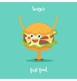 Happy Hamburger Cartoon Character Waving vector image