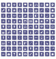100 light icons set grunge sapphire vector image vector image