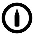 baby bottle symbol black icon in circle isolated vector image vector image