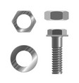 bolt fastener and several types nuts realistic vector image