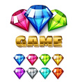 Cartoon Diamond Shaped Gem icons set vector image vector image