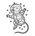 cartoon mouse astronaut sketch engraving vector image