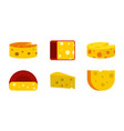cheese icon set flat style vector image