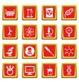 chemistry laboratory icons set red square vector image vector image