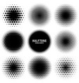 Circle halftone design elements with black dots
