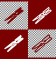 clothes peg sign bordo and white icons vector image vector image