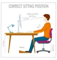 Correct spine sitting posture at computer vector image