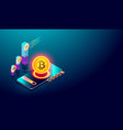 cryptocurrency bitcoin and blockchain concept vector image