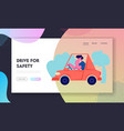driver riding auto website landing page city vector image vector image