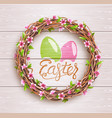 easter festive twigs wreath with flowers on vector image vector image
