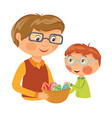 family preparing basket with eggs for easter vector image vector image
