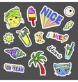 Fashion quirky cartoon doodle patch badges with vector image vector image