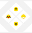 Flat icon face set of cheerful grin displeased
