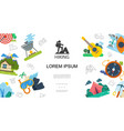 flat outdoor activities template vector image vector image