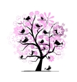 Funny tree with singing birds for your design vector image