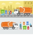 Garbage Recycling Set with Truck and Containers vector image vector image