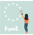 girl washing out great britain from eu emblem vector image