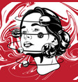 hand drawn of young beautiful woman geometrical vector image vector image