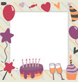 happy birthday in square vector image vector image