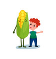 happy little boy hugging giant sweet corn vector image