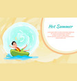hot summer poster with boy riding on donut vector image vector image