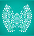 human thyroid isolated on a green background vector image vector image