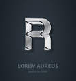 letter r elegant silver font template for company vector image