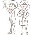 Male and female scientists vector image