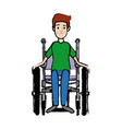 man in wheelchair care disabled patient health vector image