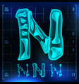 n letter capital digit roentgen x-ray vector image vector image