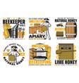 natural organic honey beekeeping apiary farm vector image vector image