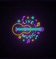 neon live music sign light signboard with guitar vector image
