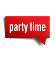 party time red 3d speech bubble vector image vector image