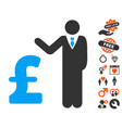 pound banker icon with lovely bonus vector image vector image