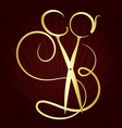 scissors and comb symbol vector image vector image