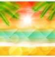 sea sunset with palmtree leaves vector image vector image