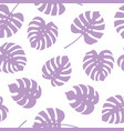 seamless pattern of purple monstera leaves vector image