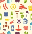 Seamless Texture with Icons of Beers and Snacks vector image