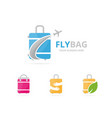 set bag logo combination baggage and tourism vector image vector image