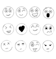 Set of hand drawn emoji isolated on white vector image vector image