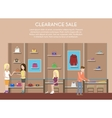 Shop with clothes or store interior clearance sale vector image vector image
