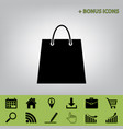 shopping bag black icon at vector image vector image
